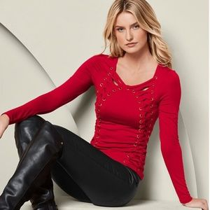 Venus Side Lace Up Top Red 8 10